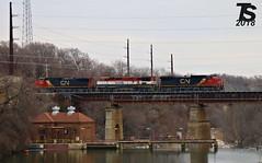 1/2 CN 2151 Leads WB L571 Manifest over Iowa River 12-21-18 (KansasScanner) Tags: iowafalls alden iowa williams cn bcol train railroad cic
