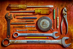 Old Reliables (Hylas) Tags: tools handtool screwdrivers pliers tape wrench old technology flickrfriday