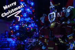 Merry Christmas Everyone! (Ben Cossy) Tags: merry christmas lego afol tfol moc santa voltron iron man hulkbuster tree lights box under trees robot mech happy