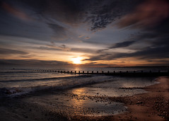 Once More Unto The Beach (PeskyMesky) Tags: aberdeen aberdeenbeach sunrise sunset scotland sea sky sand beach cloud red canon canon5d eos