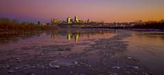 The Photograph from Snowy River (KC Mike Day) Tags: river convergence boundary states kansas missouri ice snow circles crop floating snowy dusk canon 1635 f4 angle wide point kaw purple sky gradient kcmo