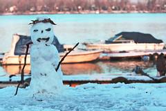 Snow man/Sneško belić (salaminijo) Tags: januarext snowman sneškobelić explore outdoor canon eos winter januar january wintertime bokeh snow lightandshadows rivrside šetnja walk cloudyday