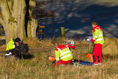 25 Filming attending to the casualty, Scone (wwshack) Tags: airbushelicopters ec135 egpt eurocopter psl perth perthairport perthshire scaa stv scone sconeairport scotland scotlandscharityairambulance helicopter photoshoot
