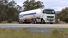 Bowning Tanks (1/3) (Jungle Jack Movements (ferroequinologist)) Tags: tank tankers yass haulage bowning nsw new wales australia hume highway freeway hp horsepower big rig haul freight cabover trucker drive carry delivery bulk lorry hgv wagon road nose semi trailer deliver cargo interstate articulated vehicle load freighter ship move roll motor engine power teamster truck tractor prime mover diesel injected driver cab cabin loud rumble beast wheel double b tanks transport volvo fh 540 mercedes benz actros mccoll ior rivet