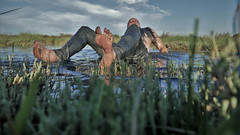 Ninska Laguna (marcostetter) Tags: nature lake wet wetlook wetclothing wetclothes wetjeans water wetbody wetfashion fashion weather hunk hiking jeans bluejeans tinyjeans landscape legs levis feet barefoot nipples mud messy muddy swamp marsh