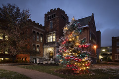 Military Service Tree (Notley Hawkins) Tags: httpwwwnotleyhawkinscom notleyhawkinsphotography notley notleyhawkins 10thavenue tree holidaytree building campus architecture militaryservicetree lights christmaslights columbiacollege columbiamissouri boonecountymissouri evening dusk bluehour nocturne 2018 november veteransday