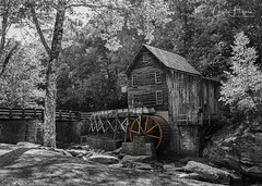 When the color is gone... (Carol Huffman) Tags: bw wv watermills water gristmill babcockstatepark gladecreekgristmill fall autumn blackwhite