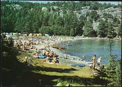 Postkort fra Agder (Avtrykket) Tags: strand badende bil luftmadrass postkort pram sommer strandliv telt grimstad austagder norway nor