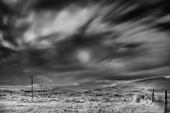 Sunny Spell (annemcgr) Tags: castlegregory kerry summer sun telegraphpoles grass hills ir infrared monochrome blackwhite