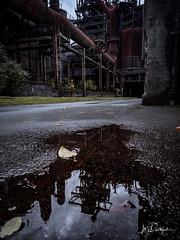 Industrial Mirror (Blende18.2) Tags: landschaftsparkduisburgnord duisburg industrie herbst blätter braun orange brown water rainy autumn regen wetter weather leaves spiegelung mirror industry