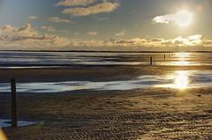 Folge den Pfählen zum Licht (greenoid) Tags: römö südstrand starnd beach pfähle sonne sonnenuntergang wolken abend evening himmel sky wasser pfützen spuren pfahl denmark danmark dänemark