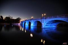 Kingston Bridge (psychosteve-2) Tags: kingston bridge thames night blue long time exposure reflection boat trees sky