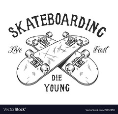 Vintage monochrome skateboarding activity logotype (baik95501) Tags: skateboarding skateboard crossed board skateboarder young activity skate inscription sport equipment leisure recreation youth wheel vector illustration logo logotype vintage retro patch sign icon symbol label badge stamp sticker emblem apparel tshirt monochrome black white element isolated template