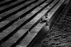 With My Bud - Spokane WA (j-rye) Tags: sonyalpha mirrorless steps concrete river water dog monochrome blackandwhite sonya6000 sony a6000 ilce6000 calming serene lkg383