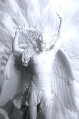 ARCHANGEL MICHAEL STATUE IN WHITE MARBLE (MARIA PIOTROVSKAJA) Tags: man angel archangel michael angelic holy religion christ christmas power leader marble crafted artist art design old antique statue sculpture white ancient memorial god religious war victory battle guardian protector defender body face head curly heair smiling eyes beauty beautiful italy rome cathedral feather wings universe spiritual immortal hero fantasy stone figure person jesus dramatic sword isolated monument history
