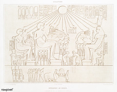 Sacrifice to the Sun from Histoire de l'art égyptien (1878) by Émile Prisse d'Avennes (1807-1879). Digitally enhanced by rawpixel. (Free Public Domain Illustrations by rawpixel) Tags: otherkeywords anillustrationoftheegyptian ancestry ancient ancientegyptian ancientegyptianart antique archaeological archeology art artwork carving cc0 design designing drawing dynasty egypt egyptian egyptiankingdom egyptology empire gods handdrawn histoiredelartégyptien historical history illustration kingdom mythology old oldfashioned outlines outlinesfromtheantique pattern psd romans sacrifice sepia sketch story sun symbol tomb traditional vintage worship émileprissedavennes