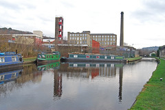 Reflections at Slaithwaite (Halliwell_Michael ## Offline mostlyl ##) Tags: huddersfield huddersfieldnarrowcanal westyorkshire nikond40x 2018 slaithwaite towpath mill narrowboats millchimney reflection reflections landscape water town firestation buildings reflectionslovers