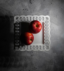 Two Apples Flatlay (Totosma) Tags: apple fruit healthy organic white red grey gray shadow two