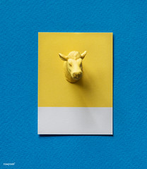 Yellow bulls head on paper (Rawpixel Ltd) Tags: abstract animal background blue bull bullshead card colorful concept cow creative decoration figure fun head horns joy little mini miniature model name ox paper pattern play shape small symbol textured tiny toy yellow