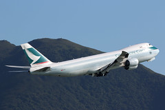 B-LJC, Boeing 747-8F, Cathay Pacific Airways, Hong Kong (ColinParker777) Tags: bljc boeing 747 b747 748 748f b748 b748f aircraft airliner aeroplane plane airplane fly flying flight departure takeoff cx cpa cathay pacific airways airline airlines air vhhh hkg hong kong chek lap kok airport lantau mountains hills canon 7d2 7dmk2 7dmkii 7dii 200400 l pro zoom telephoto