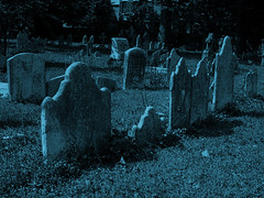 Another Day-for-Night Philly Graveyard (willceau) Tags: halloween philadelphia pennsylvania philly grave cemetery photomanipulation photoshop gimp