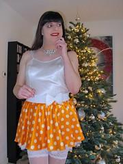 Super sweet (Paula Satijn) Tags: sexu hot girl gurl tgirl lady satin silk shiny silky sensual white orange polkadots christmas tree baubles lights sweet cute adorable happy fun joy joyous smile girly feminine stockingtops cheerful