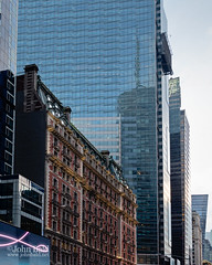Old and New in Manhattan  (268229) (John Bald) Tags: 42ndstreet beauxarts broadway knickerbocker manhattan newyork newyorkcity timessquare architecture building contrast daytime exterior summer urban
