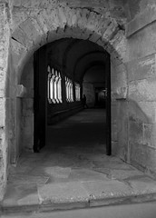Perspective (CTfoto2013) Tags: ambiance mood atmosphere peaceful paisible monument architecture cloitre cloister abbaye abbey monastery monastere france provence paca light lumiere shadows ombre perspective colonnes columns arcades noiretblanc blackandwhite nb bn bw blancoynegro monochrome arles bouches du rhone panasonic lumix gx7 building arch wall de montmajour claustro benedictin benedictine stonework porte door