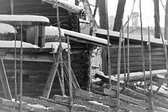 6Q3A9288 (www.ilkkajukarainen.fi) Tags: blackandwhite mustavalkoinen monochrome lumi snow winter talvi surasaari open museum museo kortti travel travelling visit happy life aita wood carving puu työ puun työstö