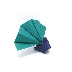 Origami Peacock (Orimin) Tags: origami paper craft papercraft art handmade animal bird peacock tail green blue simple mindaugas cesnavicius