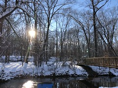 Winter Scene (rachelkidwell93) Tags: snow winter nature forest trees cold freeze freezing flake snowflake trail hike walk park sun sunny sky blue bright adventure travel outdoors mountain mountains virginia bridge walkway cross stream river water public architecture glare light ice icy melt melting weather