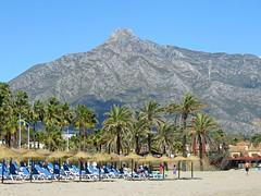 Beach Seats! ('cosmicgirl1960' NEW CANON CAMERA) Tags: blue sea sky clouds white marbella spain espana andalusia puertobanus costadelsol travel holidays beach seaside yabbadabbadoo