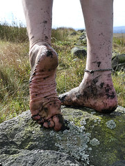 Moorland mud (Barefoot Adventurer) Tags: barefoot barefooting barefooter barefoothiking barefeet barefooted baresoles barfuss muddyfeet muddysoles moorland muddy toughsoles ruggedsoles roughsoles anklet arches autumnbarefooting autumnsoles wrinkledsoles walking rocks grounding earthsoles earthing earthstainedsoles grounded healthyfeet happyfeet hardsoles heelcracks grip