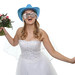 Braut mit Brautstrauß und Hut