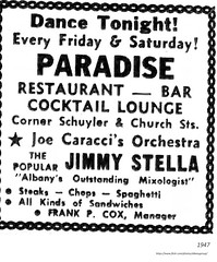 1947   Paradise Bar   schuyler and church (albany group archive) Tags: club joe caracci orchestra jimmy stella 1940s old albany ny vintage photos picture photo photograph history historic historical