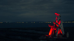 Come on ! (Lionelcolomb) Tags: carletonsurmer québec canada ca night beach red lightpainting rouge nuit sculpture sea apple canon sigma adobe lighthroom bokeh