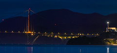 north tower to alcatraz (pbo31) Tags: bayarea california nikon d810 color night dark black city january 2019 boury pbo31 sanfrancisco goldengatebridge treasureisland alcatraz panorama large mist stitched panoramic blue bridge reflection