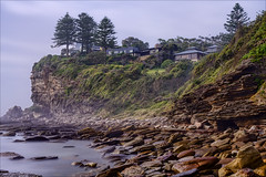 Room with a view (JustAddVignette) Tags: australia avalonbeach cliff clifftopdwelling clouds cloudy coast dawn early fog headland hightide landscapes longexposure mist newsouthwales northernbeaches ocean rocks seamist seascape seawater shore sky sunrise swell sydney water waves