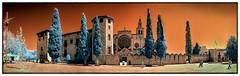 Monestir de Sant Cugat del Vallès (Ar@lee) Tags: barcelona catalunya photographyinfrared fotografíainfrarroja fullspectrum espectrocompleto trees clouds cielo bordeparafotos filtre720nm ir nikond7000 sky nubes naturaleza orange panorámica paisatges arquitectura red rojo santcugatdelvallès monestir