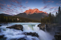 Glow and Flow (Vincent Fn) Tags: jaspernationalpark canada athabasca athabascawaterfall glow sunset mountain clouds longexposure water rocks trees travel landscape