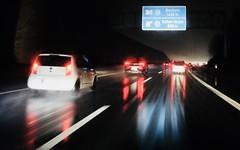 motorway A40 at rainy night - Bochum Harpen 800 m (MLe Dortmund) Tags: autobahn motorway nachts nacht night rainy regen spiegelung mr licht strase autos lumen schatten dortmund motion bewegung rot nass