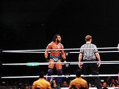 MY PERSONAL HERO (Human-Faced Bun & Honey Pudding) Tags: wwe wrestling pro entertainment world superstar talent champ jinder mahal indian canadian ring rope pad turnbuckle ref match house show championship arena