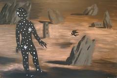 Daniel Brunovský, Rocky Landscape, 2008 (DeBeer) Tags: danielbrunovský slovak art painting contemporary imaginative postmodern surreal metaphysical rockylandscape landscape angel blackangel stars mystery mysterious