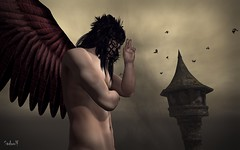 Angel of Darkness (Sadwolf SL Photos) Tags: angel darkness angelofdarkness kibdesigns crow bird tower wings mask vulture slmale slfashion sl secondlife mesh bento men avatar thedarknessmonthly