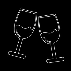 Two glasses of wine or champagne icon (www.icon0.com) Tags: wine icon glass toast vector clink white red background isolated drunk friends two fun liquid beverage new holiday symbol celebrate celebration celebratory alcohol drawing black abstract modern illustration object cocktail champagne good clip crystal romantic juice celebrating art fresh cheers sparkling silhouette party image couple food eve wineglass bubbles year