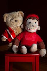 Curious George & Bear (Chaos2k) Tags: 52weeks 2019 brianboudreau strobist 580exii stuffedanimals curiousgeorge bear chair studio canon5dmarkii canon24105l northbay ontario canada 52weeksthe2019edition