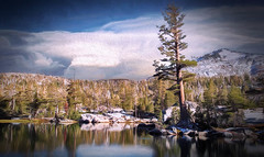 Mountain Lake (jarr1520) Tags: sky clouds mountain snow composite textured trees pine reflection rocks