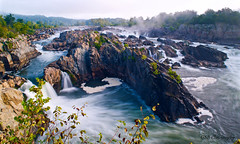 Great Falls National Park, Overlook 1, Virginia (GSB Photography) Tags: greatfalls potomacriver america usa river waterfall chute rapids sunlight water rush rocks trees foliage sky clouds flow vista overlook nikon d5300 virginia longexposure