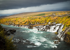Hraunfossar in autumn (loveexploring) Tags: hraunfossar hvita hvitariver iceland autumn autumncolour cloud fall falls landscape lava longexposure river scenicattraction waterfall