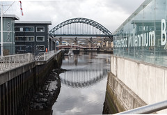 Taken from the Millenium Bridge, showing some of the Tyne bridges. (alisonhalliday) Tags: newcastleupontyne river bridges quayside buildings